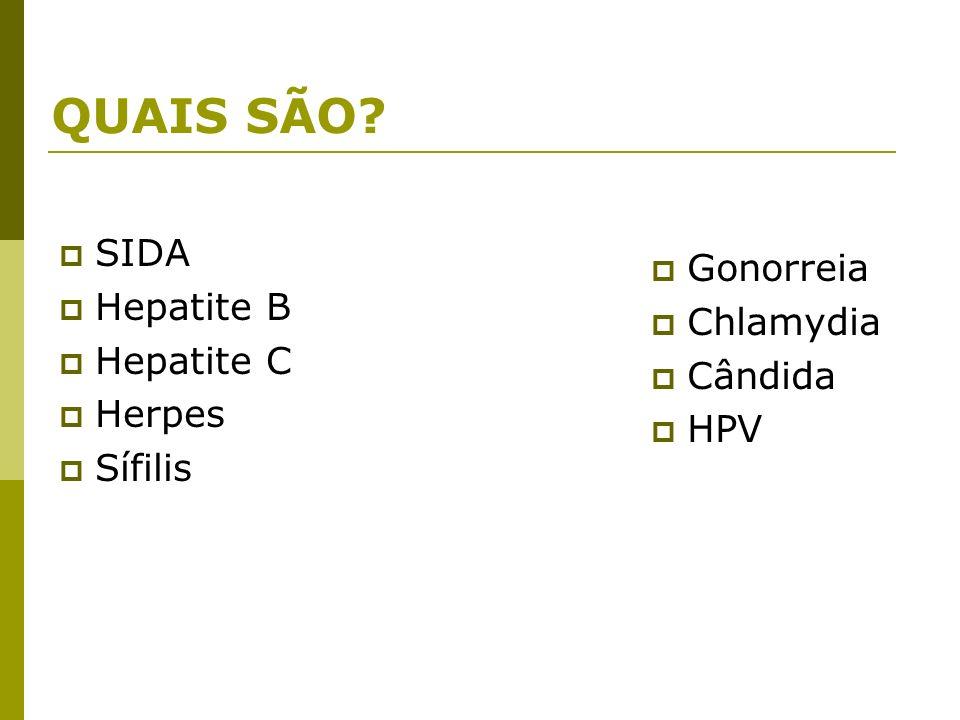 QUAIS SÃO? SIDA Hepatite B Hepatite C Herpes Sífilis Gonorreia Chlamydia Cândida HPV