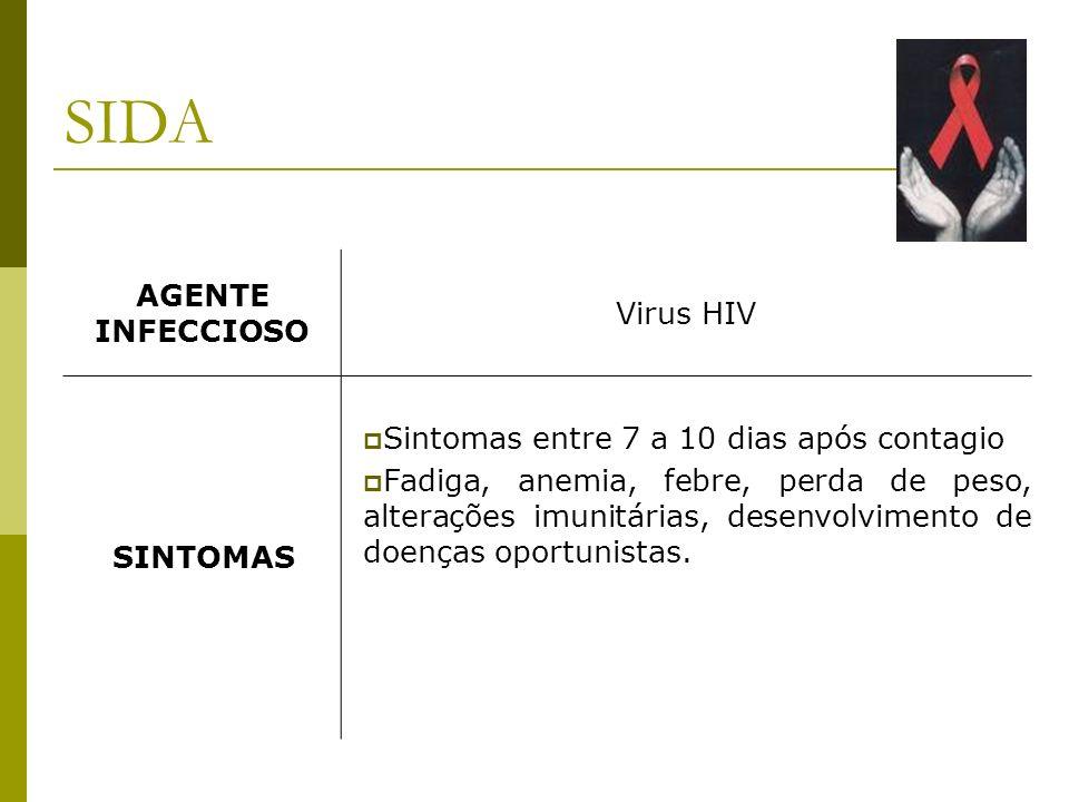 AGENTE INFECCIOSO Virus HIV SINTOMAS Sintomas entre 7 a 10 dias após contagio Fadiga, anemia, febre, perda de peso, alterações imunitárias, desenvolvimento de doenças oportunistas.
