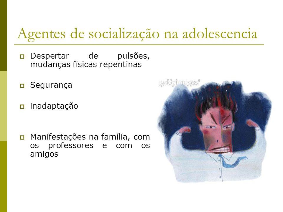Agentes de socialização na adolescencia Despertar de pulsões, mudanças físicas repentinas Segurança inadaptação Manifestações na família, com os professores e com os amigos