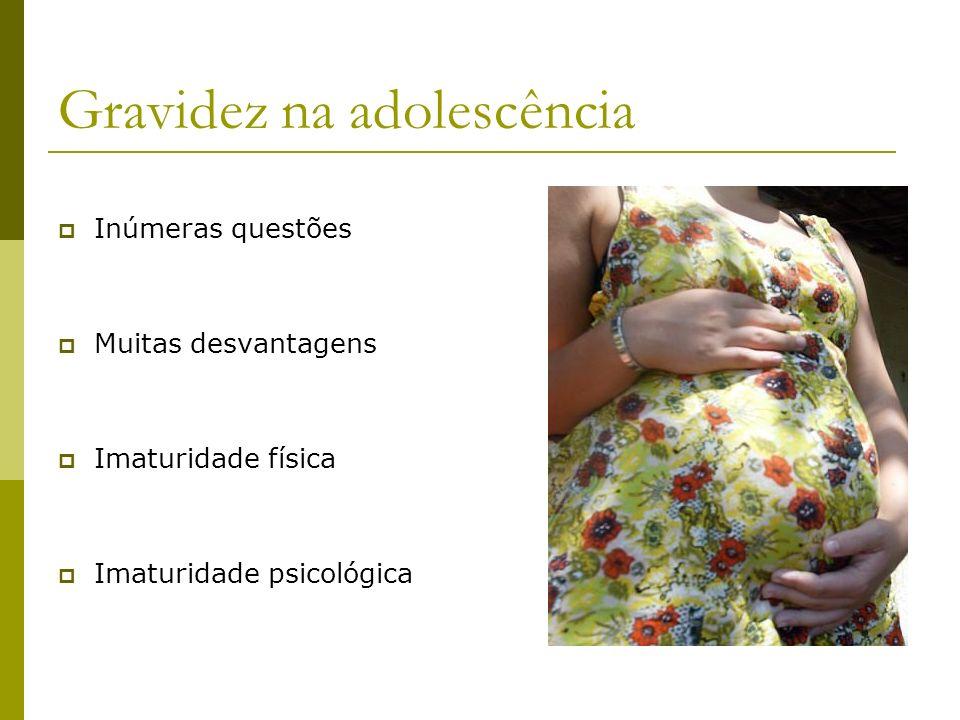 Gravidez na adolescência Socialmente: Abandono escolar Interrupção dos estudos Impossibilidade de desfrutar da adolescência