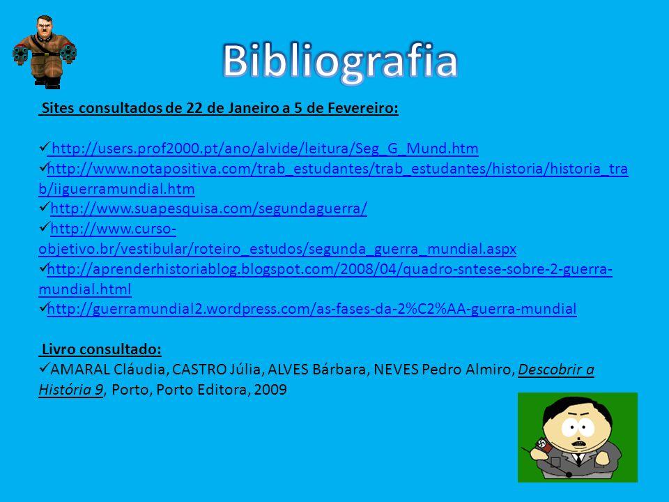 Sites consultados de 22 de Janeiro a 5 de Fevereiro: http://users.prof2000.pt/ano/alvide/leitura/Seg_G_Mund.htm http://users.prof2000.pt/ano/alvide/le
