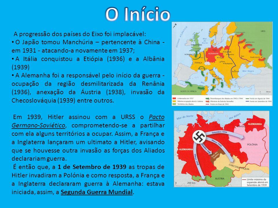 A progressão dos países do Eixo foi implacável: O Japão tomou Manchúria – pertencente à China - em 1931 - atacando-a novamente em 1937; A Itália conqu