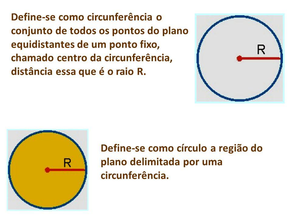 Define-se como circunferência o conjunto de todos os pontos do plano equidistantes de um ponto fixo, chamado centro da circunferência, distância essa