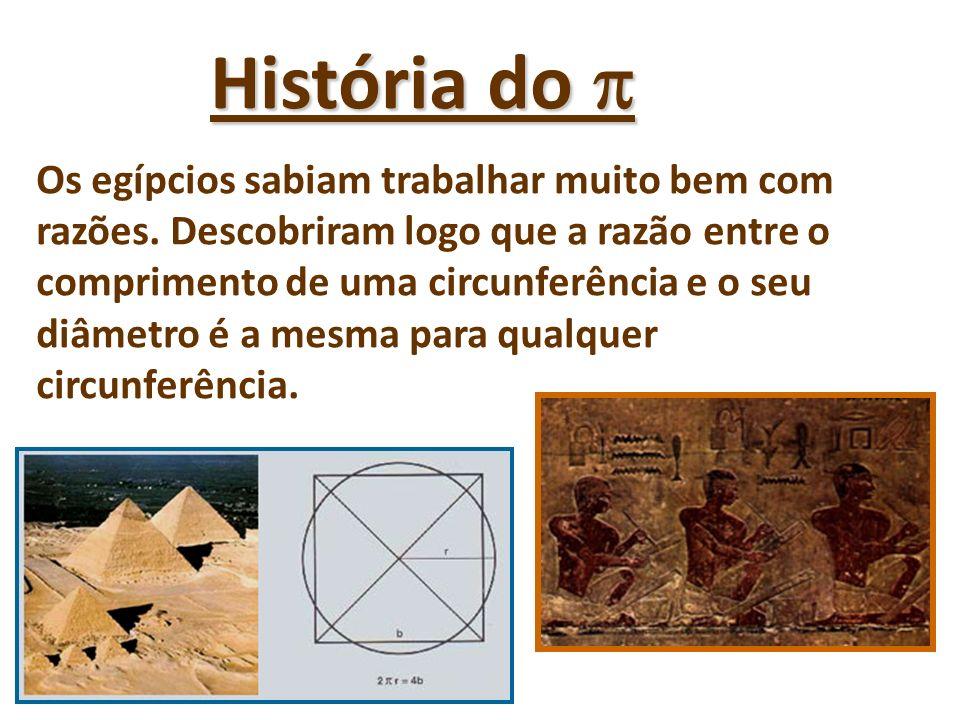 História do História do Os egípcios sabiam trabalhar muito bem com razões. Descobriram logo que a razão entre o comprimento de uma circunferência e o