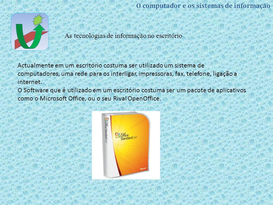 O computador e os sistemas de informação As tecnologias de informação no escritório Actualmente em um escritório costuma ser utilizado um sistema de c