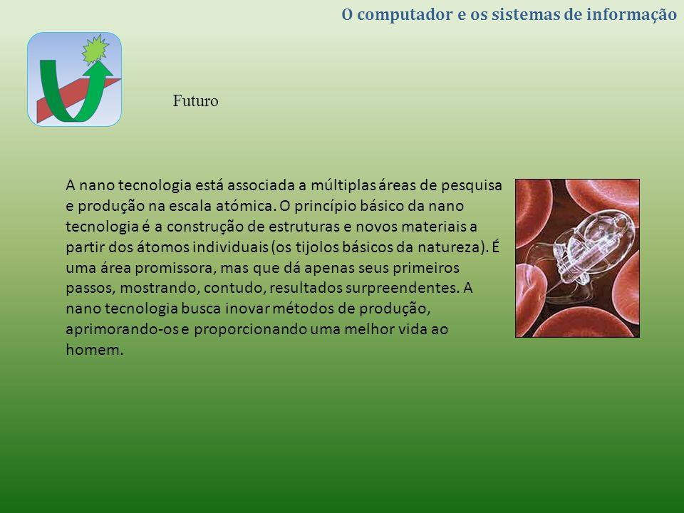O computador e os sistemas de informação Futuro A nano tecnologia está associada a múltiplas áreas de pesquisa e produção na escala atómica. O princíp
