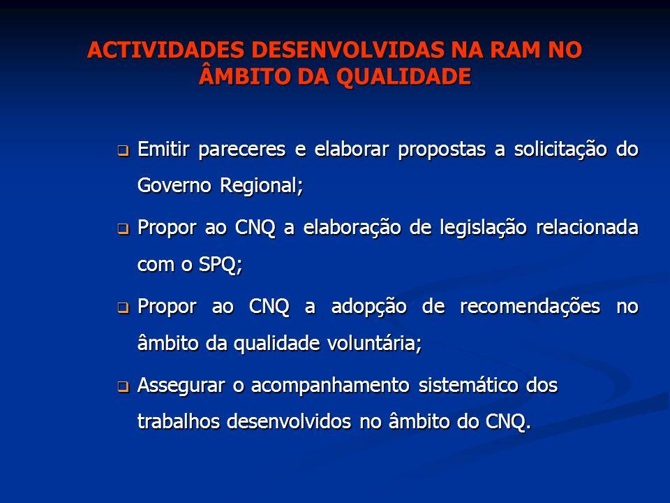 ACTIVIDADES DESENVOLVIDAS NA RAM NO ÂMBITO DA QUALIDADE Conselho Regional da Qualidade Foi criado através de Resolução nº 154/2001 o CRQ – Conselho Regional da Qualidade.