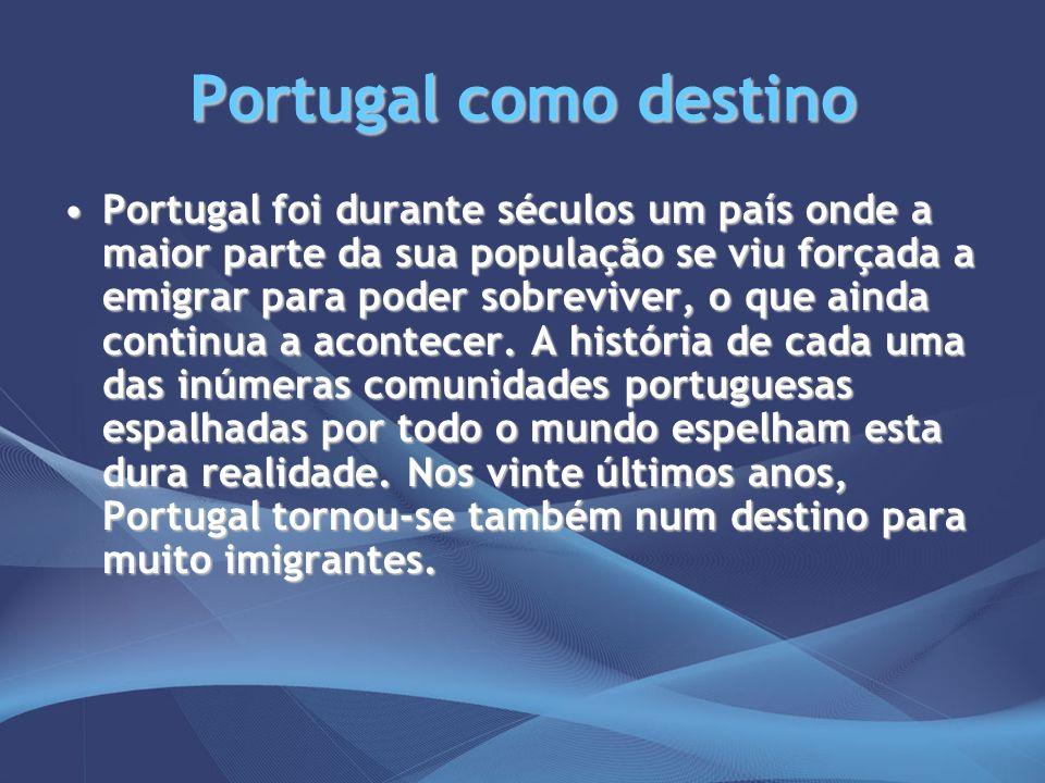 Portugal como destino Portugal foi durante séculos um país onde a maior parte da sua população se viu forçada a emigrar para poder sobreviver, o que a