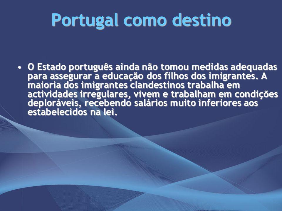 Portugal como destino O Estado português ainda não tomou medidas adequadas para assegurar a educação dos filhos dos imigrantes. A maioria dos imigrant