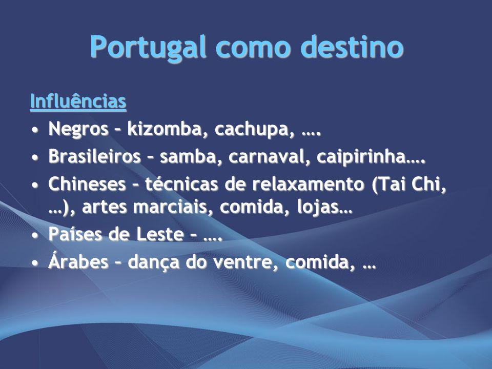 Portugal como destino Influências Negros – kizomba, cachupa, ….Negros – kizomba, cachupa, …. Brasileiros – samba, carnaval, caipirinha….Brasileiros –