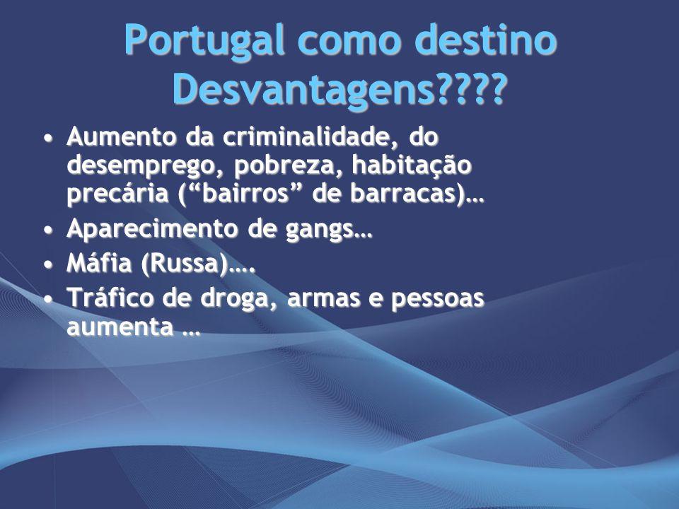 Portugal como destino Desvantagens???? Aumento da criminalidade, do desemprego, pobreza, habitação precária (bairros de barracas)…Aumento da criminali