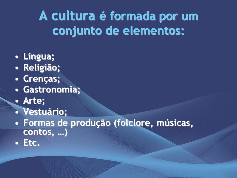 A cultura é formada por um conjunto de elementos: Língua;Língua; Religião;Religião; Crenças;Crenças; Gastronomia;Gastronomia; Arte;Arte; Vestuário;Ves