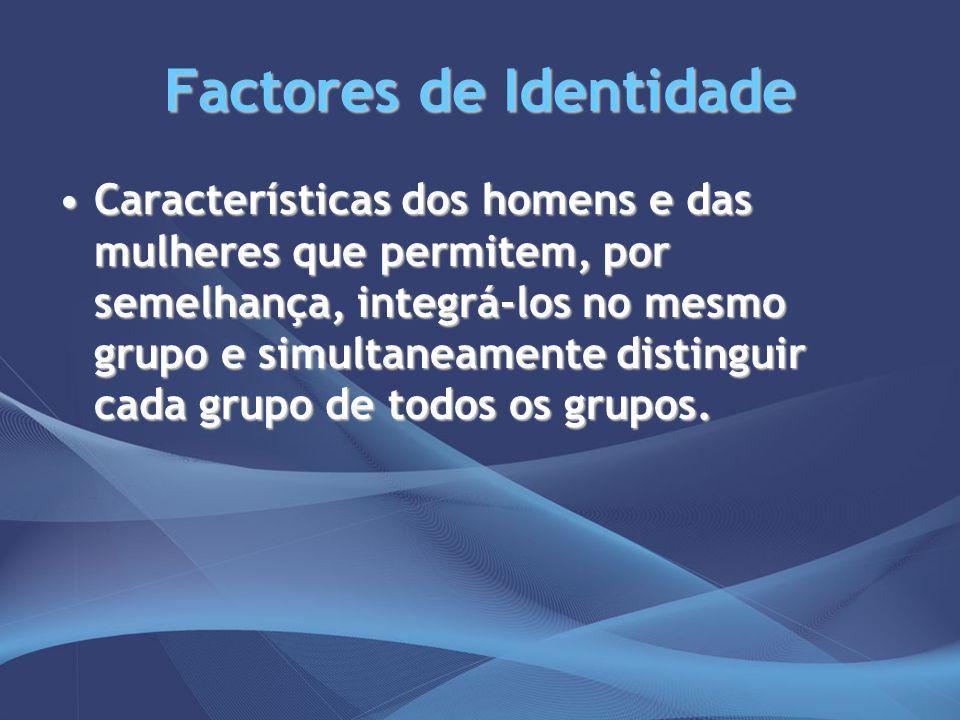 Factores de Identidade Características dos homens e das mulheres que permitem, por semelhança, integrá-los no mesmo grupo e simultaneamente distinguir