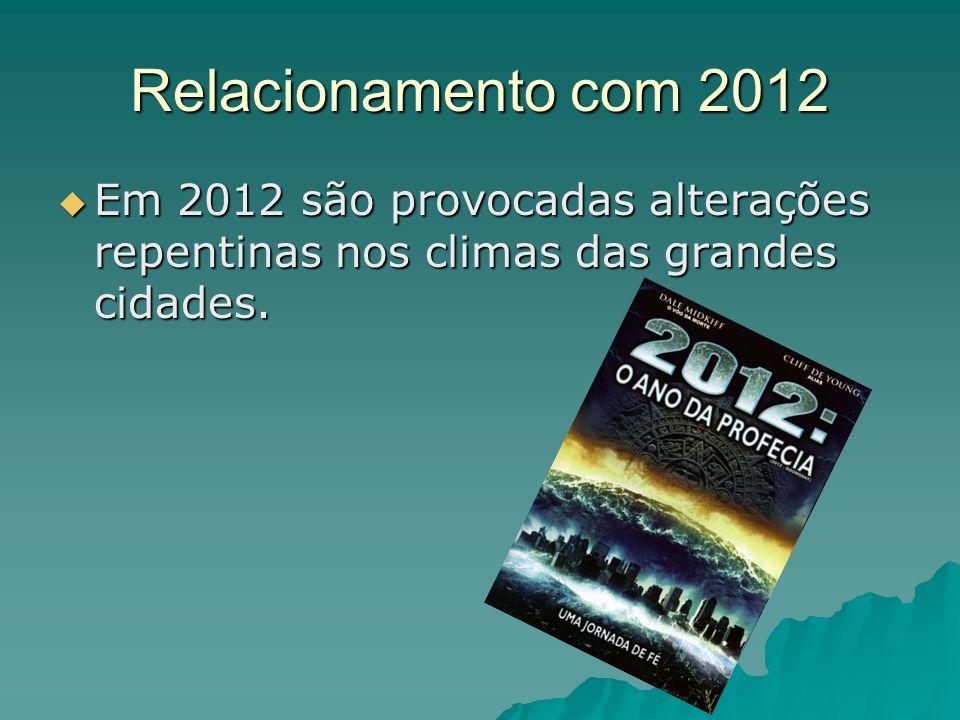 Relacionamento com 2012 Em 2012 são provocadas alterações repentinas nos climas das grandes cidades. Em 2012 são provocadas alterações repentinas nos