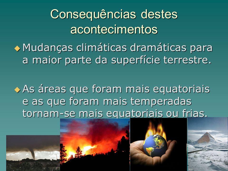 Consequências destes acontecimentos Mudanças climáticas dramáticas para a maior parte da superfície terrestre. Mudanças climáticas dramáticas para a m