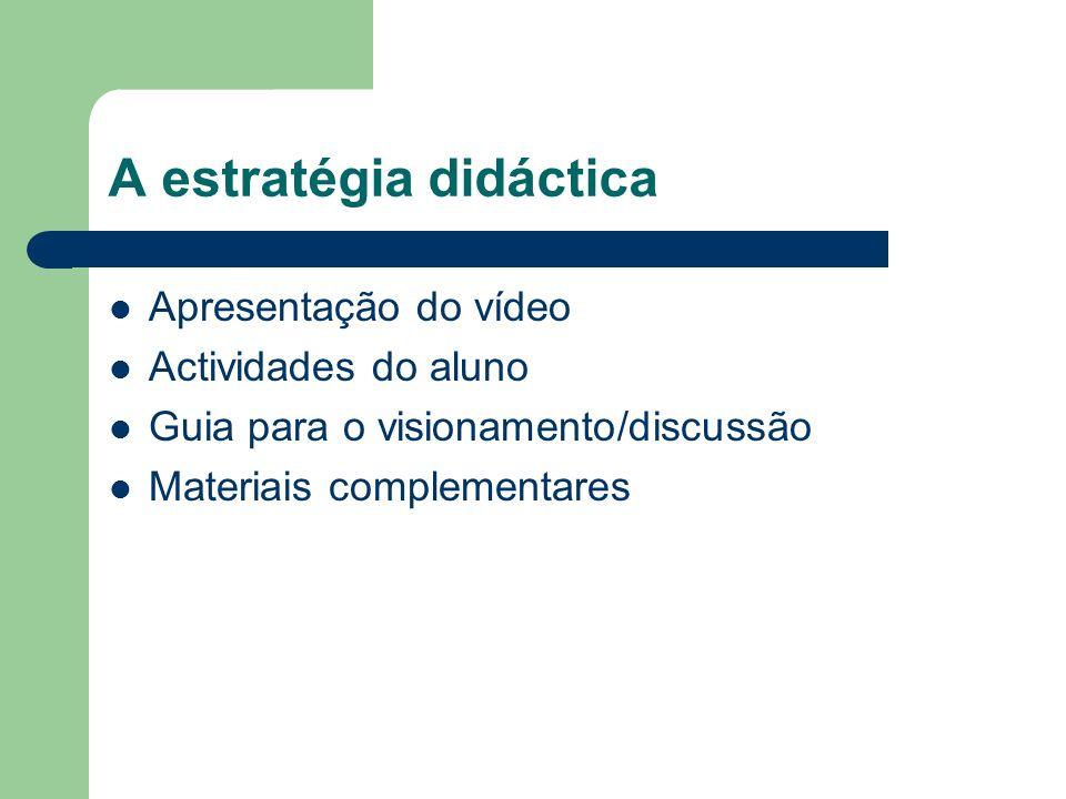 A estratégia didáctica Apresentação do vídeo Actividades do aluno Guia para o visionamento/discussão Materiais complementares