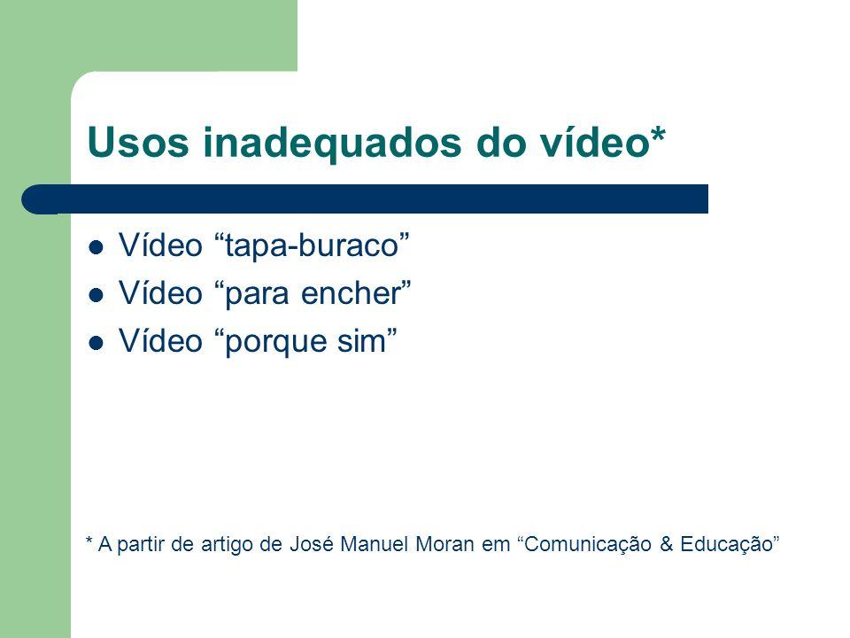 Usos inadequados do vídeo* Vídeo tapa-buraco Vídeo para encher Vídeo porque sim * A partir de artigo de José Manuel Moran em Comunicação & Educação