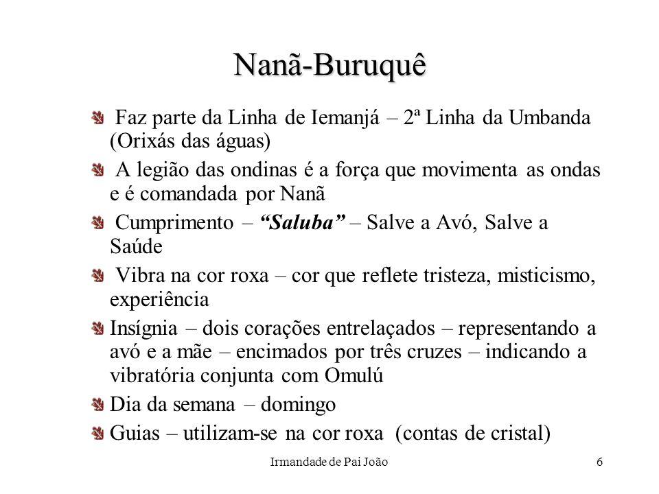 Irmandade de Pai João6Nanã-Buruquê Faz parte da Linha de Iemanjá – 2ª Linha da Umbanda (Orixás das águas) A legião das ondinas é a força que movimenta