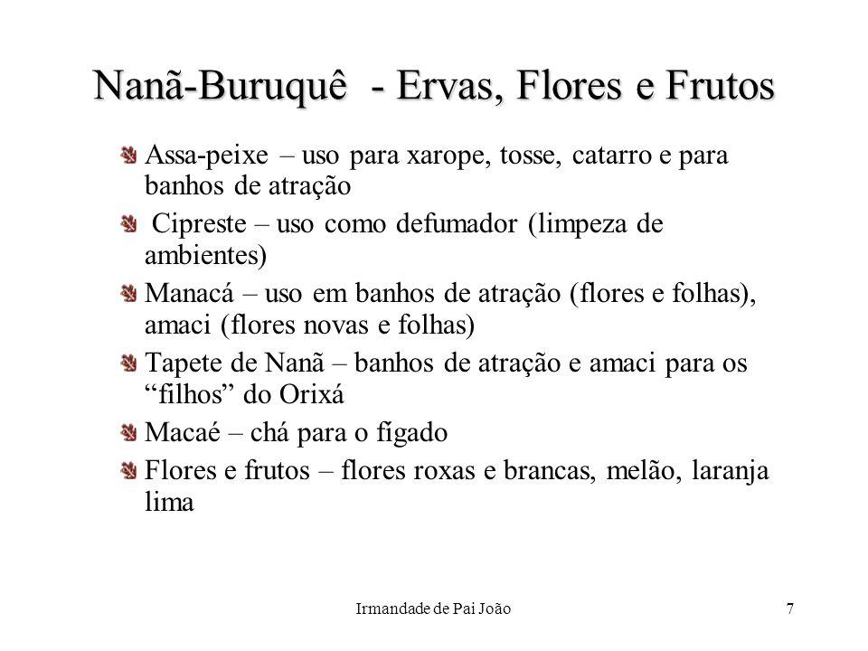 Irmandade de Pai João7 Nanã-Buruquê - Ervas, Flores e Frutos Assa-peixe – uso para xarope, tosse, catarro e para banhos de atração Cipreste – uso como