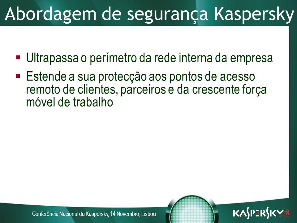 Conferência Nacional da Kaspersky, 14 Novembro, Lisboa Abordagem de segurança Kaspersky Ultrapassa o perímetro da rede interna da empresa Estende a sua protecção aos pontos de acesso remoto de clientes, parceiros e da crescente força móvel de trabalho
