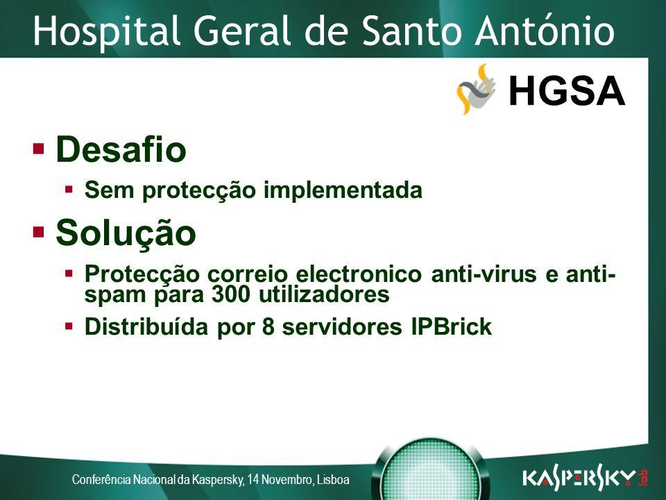 Conferência Nacional da Kaspersky, 14 Novembro, Lisboa Hospital Geral de Santo António HGSA Desafio Sem protecção implementada Solução Protecção correio electronico anti-virus e anti- spam para 300 utilizadores Distribuída por 8 servidores IPBrick