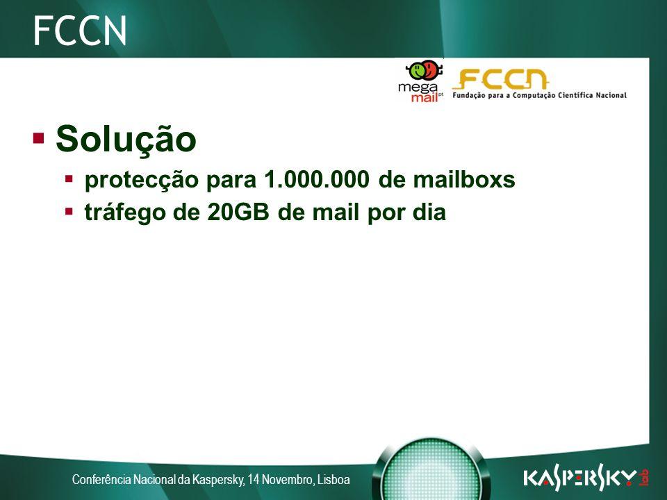 Conferência Nacional da Kaspersky, 14 Novembro, Lisboa FCCN Solução protecção para 1.000.000 de mailboxs tráfego de 20GB de mail por dia