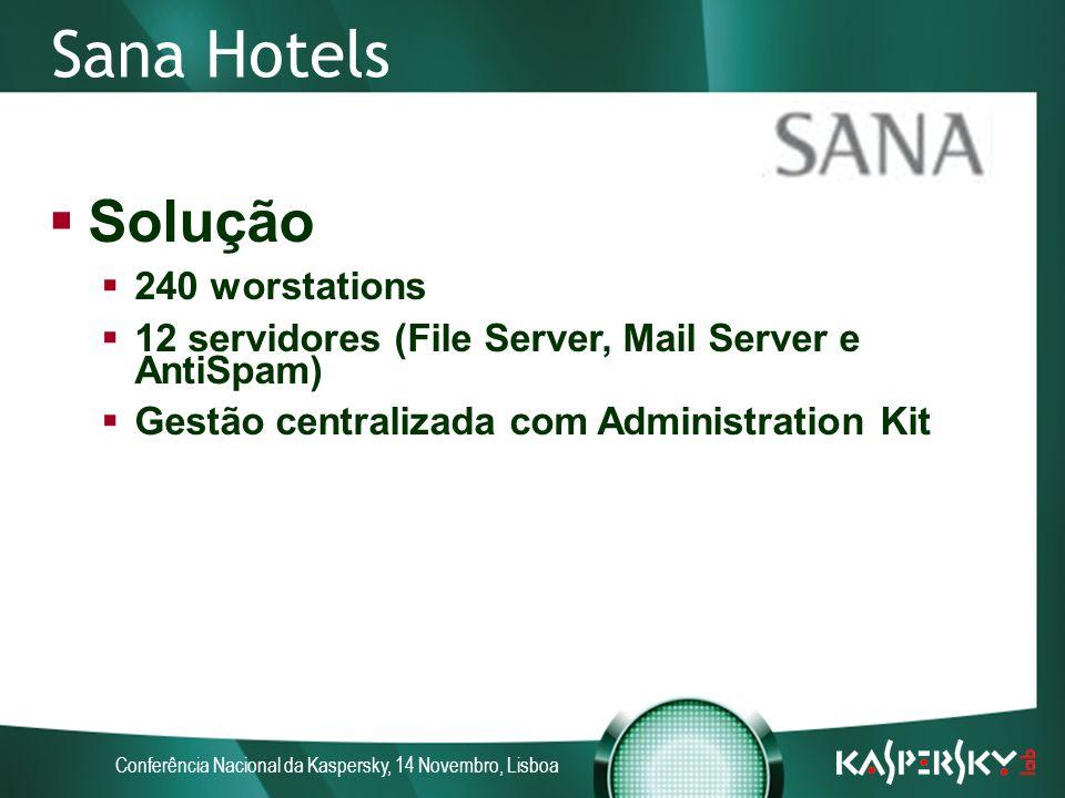Conferência Nacional da Kaspersky, 14 Novembro, Lisboa Sana Hotels Solução 240 worstations 12 servidores (File Server, Mail Server e AntiSpam) Gestão centralizada com Administration Kit
