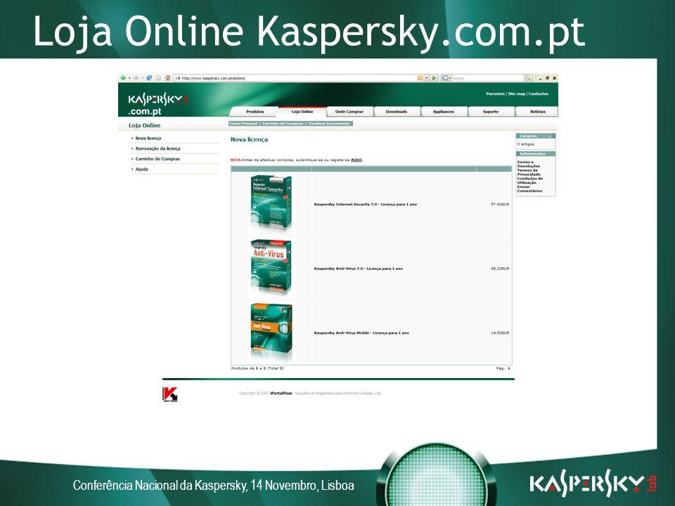 Conferência Nacional da Kaspersky, 14 Novembro, Lisboa Loja Online Kaspersky.com.pt