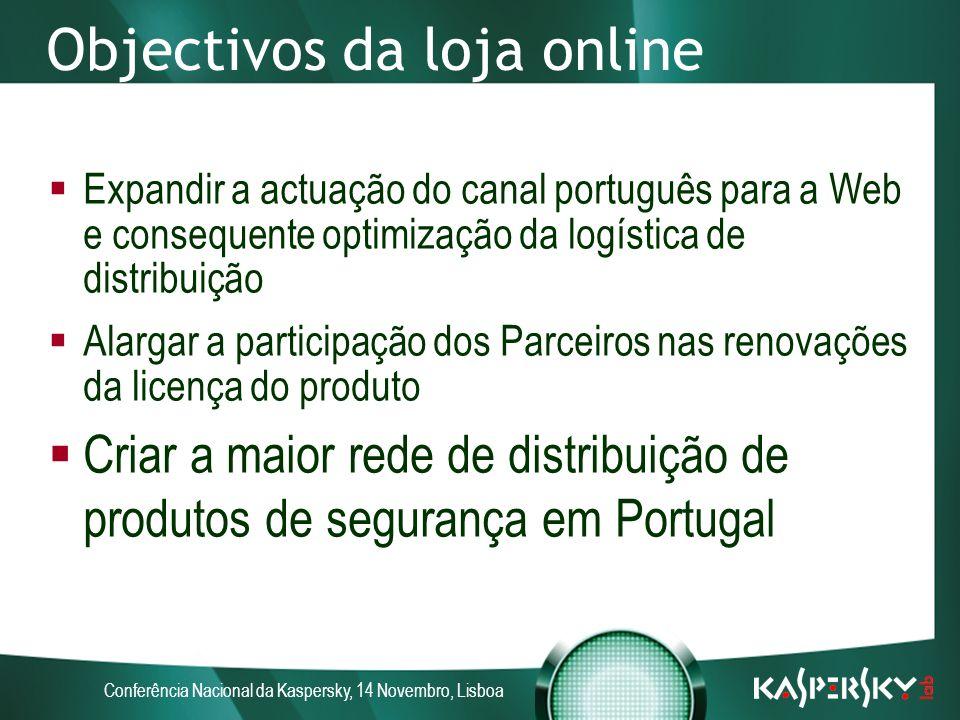 Conferência Nacional da Kaspersky, 14 Novembro, Lisboa Objectivos da loja online Expandir a actuação do canal português para a Web e consequente optimização da logística de distribuição Alargar a participação dos Parceiros nas renovações da licença do produto Criar a maior rede de distribuição de produtos de segurança em Portugal