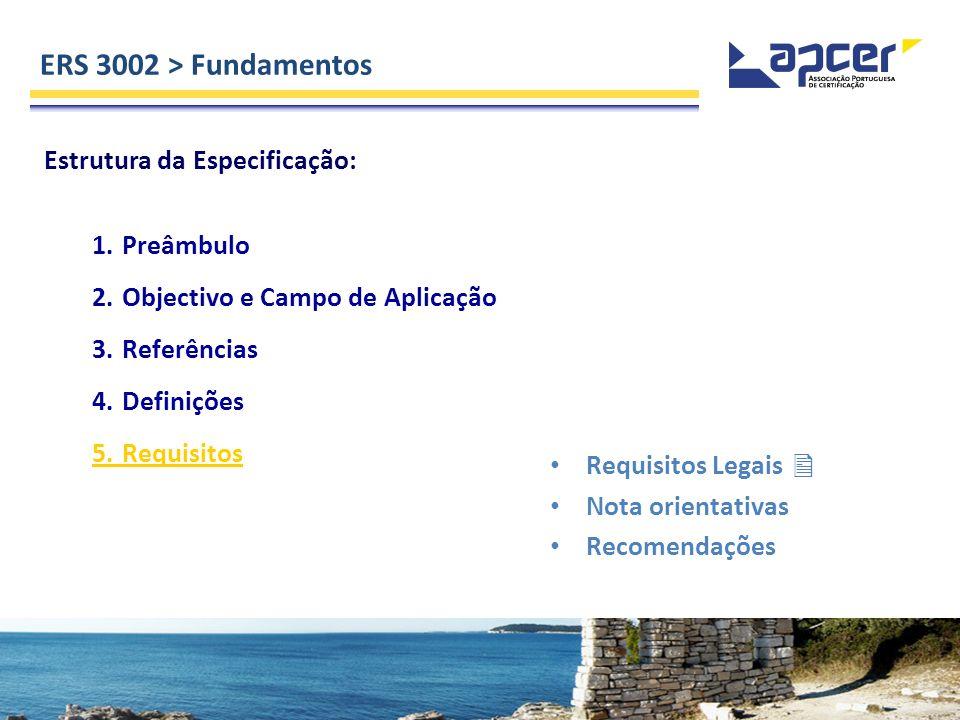 ERS 3002 > Fundamentos Estrutura da Especificação: 1.Preâmbulo 2.Objectivo e Campo de Aplicação 3.Referências 4.Definições 5.Requisitos Requisitos Leg
