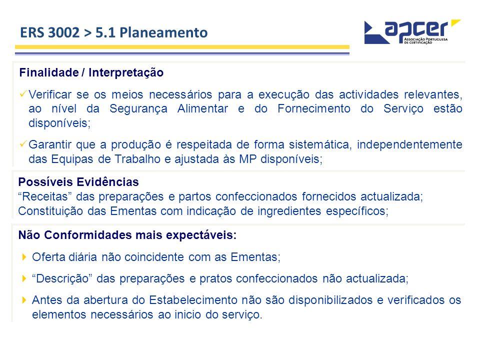 ERS 3002 > 5.1 Planeamento Finalidade / Interpretação Verificar se os meios necessários para a execução das actividades relevantes, ao nível da Segura