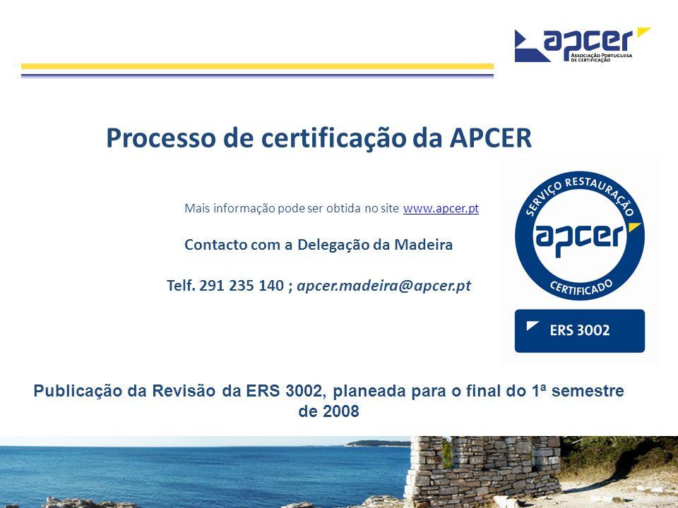 Processo de certificação da APCER Mais informação pode ser obtida no site www.apcer.ptwww.apcer.pt Contacto com a Delegação da Madeira Telf. 291 235 1