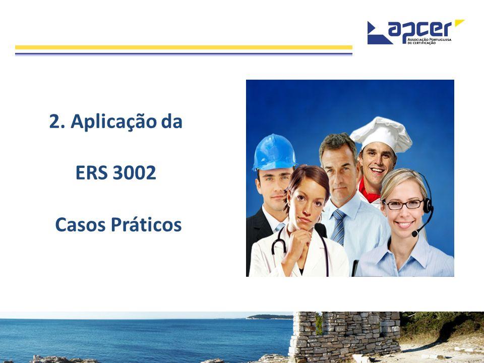 ERS 3002 > FERRAMENTA DE DIAGNÓSTICO Objectivos: Facilitar a análise dos requisitos da ERS 3002, em cada Estabelecimento; Fornecer às Empresas e Consultores um relatório sucinto que sirva de base a um planeamento adequado da implementação dos requisitos da ERS 3002; Permitir a avaliação periódica da implementação da ERS 3002; Quantificar o grau de implementação.