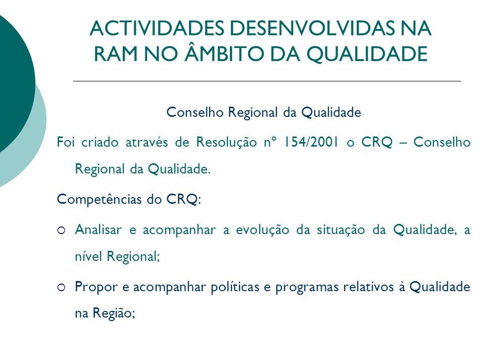 ACTIVIDADES DESENVOLVIDAS NA RAM NO ÂMBITO DA QUALIDADE Conselho Regional da Qualidade Foi criado através de Resolução nº 154/2001 o CRQ – Conselho Re