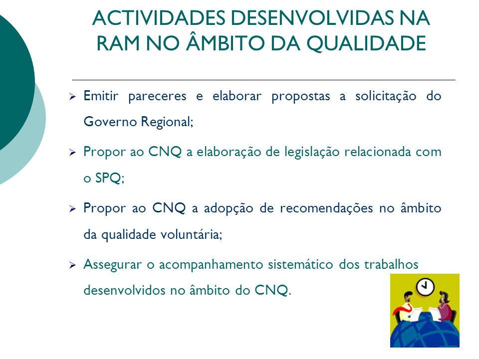 ACTIVIDADES DESENVOLVIDAS NA RAM NO ÂMBITO DA QUALIDADE Emitir pareceres e elaborar propostas a solicitação do Governo Regional; Propor ao CNQ a elabo