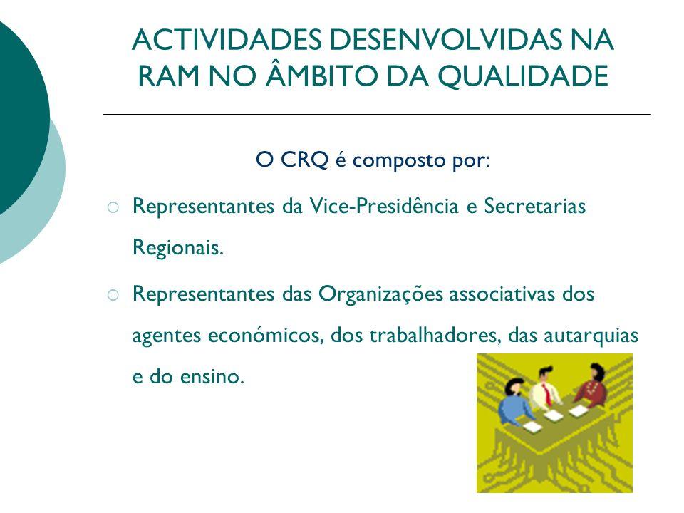 ACTIVIDADES DESENVOLVIDAS NA RAM NO ÂMBITO DA QUALIDADE O CRQ é composto por: Representantes da Vice-Presidência e Secretarias Regionais. Representant