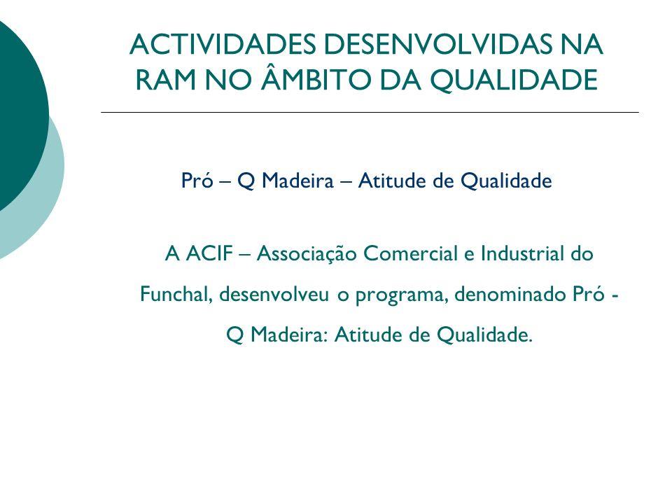 ACTIVIDADES DESENVOLVIDAS NA RAM NO ÂMBITO DA QUALIDADE Dinamização da Qualidade Semana da Qualidade 2001 Ano da Qualidade 2002 Acções de Dinamização da Qualidade 2003 Acções de Qualidade Vocacionadas para Laboratórios
