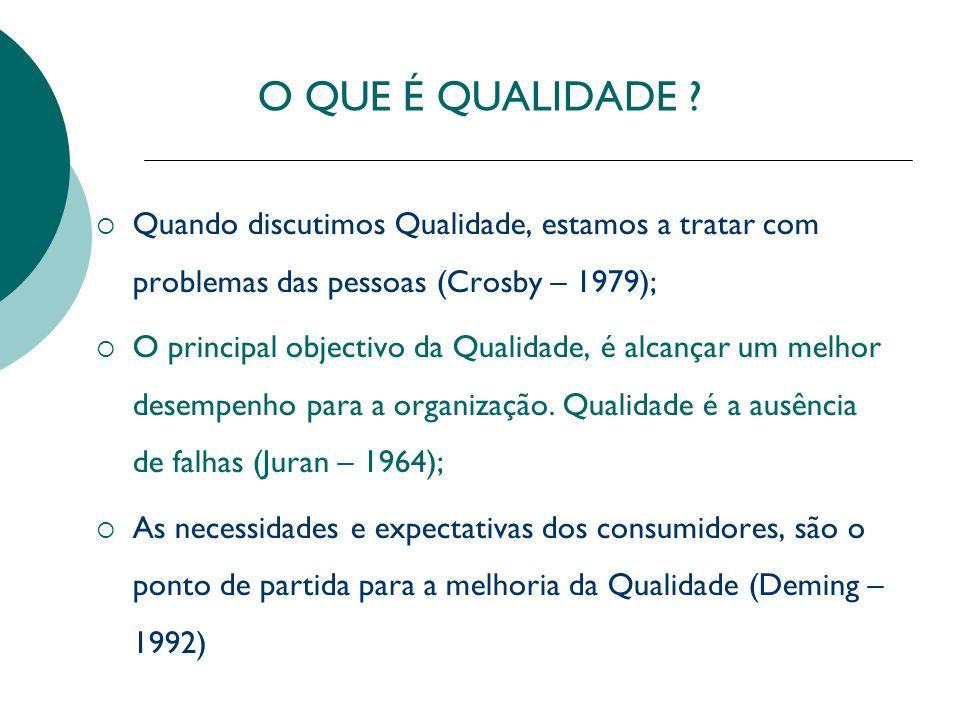 O QUE É QUALIDADE ? Quando discutimos Qualidade, estamos a tratar com problemas das pessoas (Crosby – 1979); O principal objectivo da Qualidade, é alc