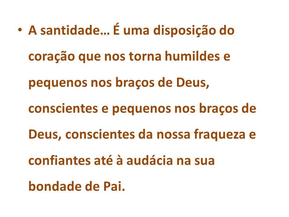 A santidade… É uma disposição do coração que nos torna humildes e pequenos nos braços de Deus, conscientes e pequenos nos braços de Deus, conscientes