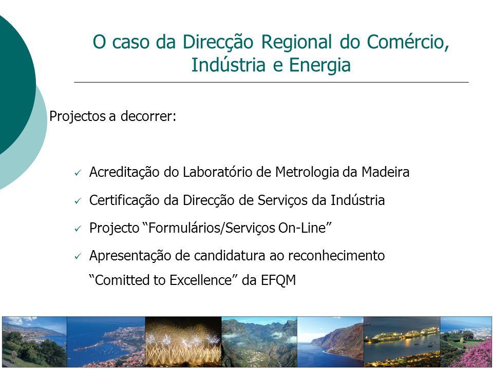 Projectos a decorrer: Acreditação do Laboratório de Metrologia da Madeira Certificação da Direcção de Serviços da Indústria Projecto Formulários/Servi