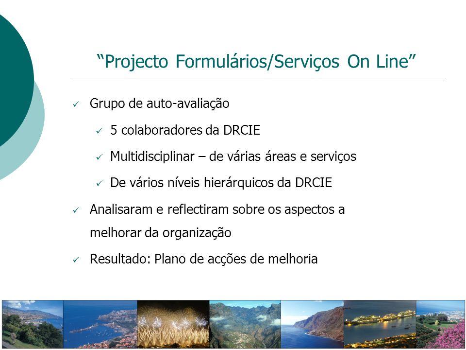 Projecto Formulários/Serviços On Line Grupo de auto-avaliação 5 colaboradores da DRCIE Multidisciplinar – de várias áreas e serviços De vários níveis