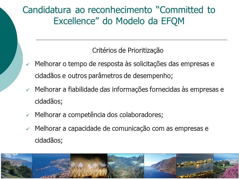 Critérios de Prioritização Melhorar o tempo de resposta às solicitações das empresas e cidadãos e outros parâmetros de desempenho; Melhorar a fiabilid
