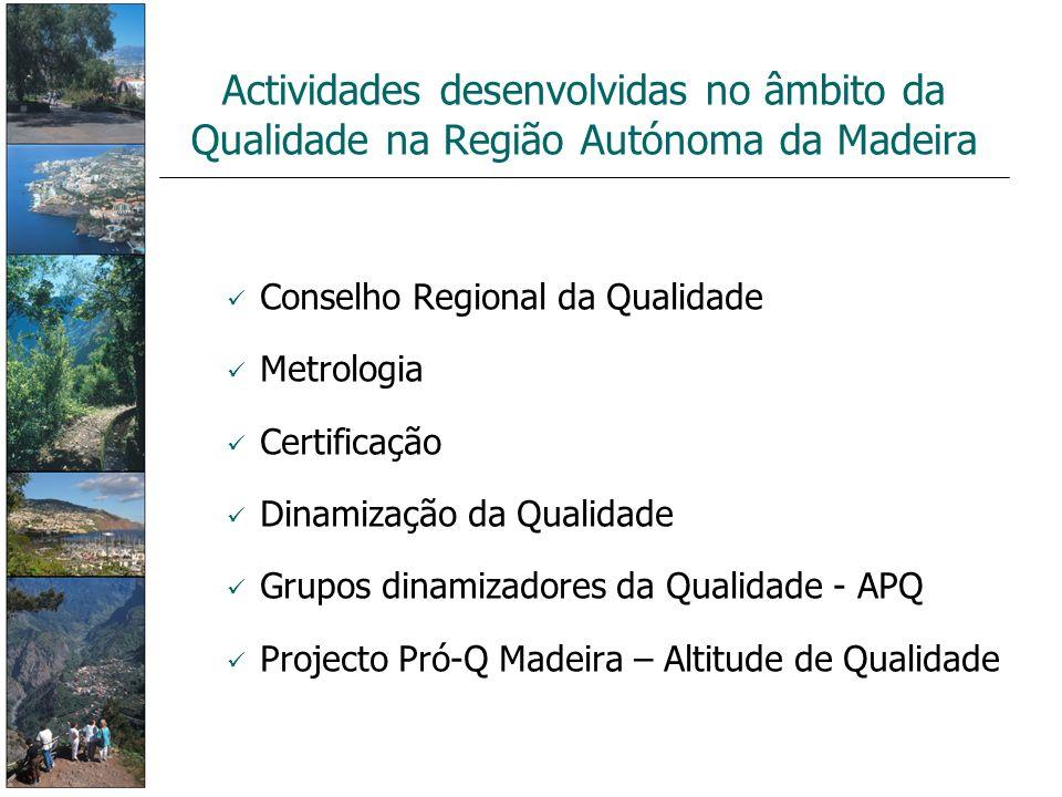 Conselho Regional da Qualidade Metrologia Certificação Dinamização da Qualidade Grupos dinamizadores da Qualidade - APQ Projecto Pró-Q Madeira – Altit