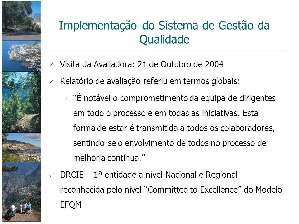 Implementação do Sistema de Gestão da Qualidade Visita da Avaliadora: 21 de Outubro de 2004 Relatório de avaliação referiu em termos globais: É notáve