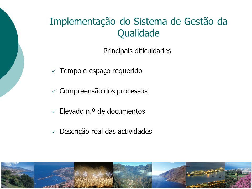 Implementação do Sistema de Gestão da Qualidade Principais dificuldades Tempo e espaço requerido Compreensão dos processos Elevado n.º de documentos D
