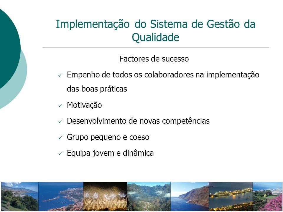 Implementação do Sistema de Gestão da Qualidade Factores de sucesso Empenho de todos os colaboradores na implementação das boas práticas Motivação Des