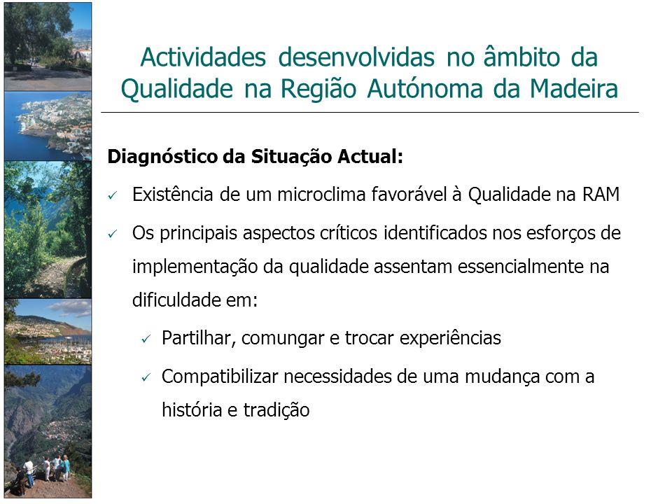 Diagnóstico da Situação Actual: Existência de um microclima favorável à Qualidade na RAM Os principais aspectos críticos identificados nos esforços de