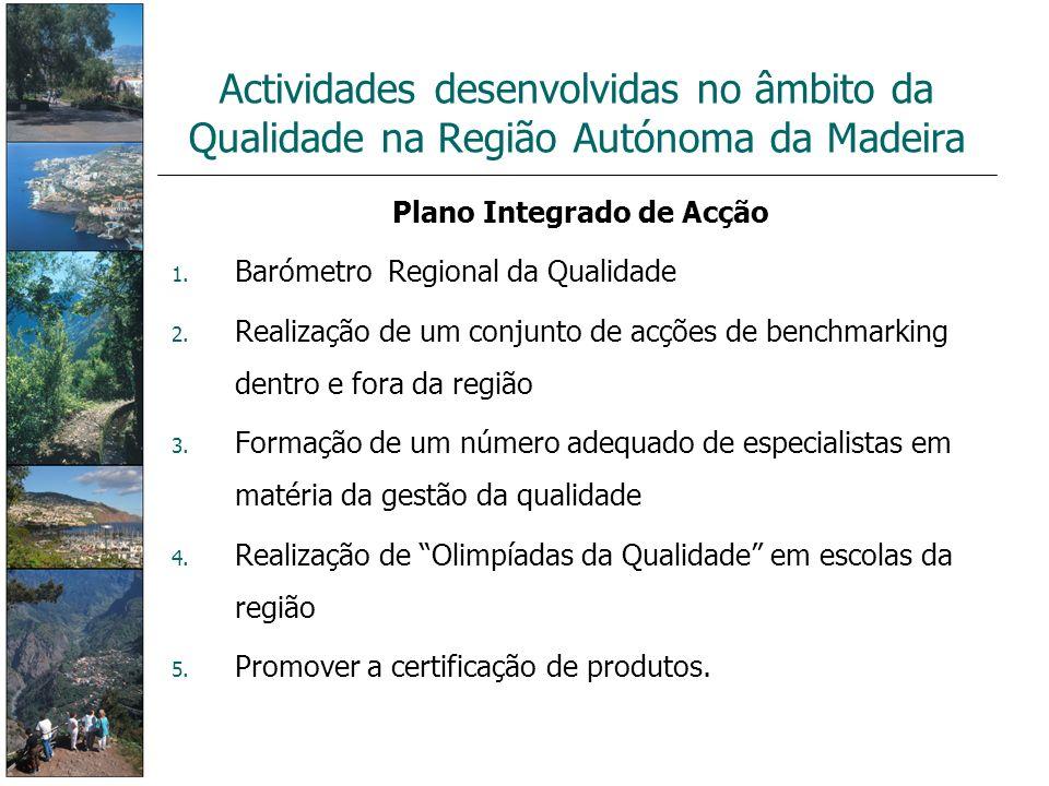 Plano Integrado de Acção 1. Barómetro Regional da Qualidade 2. Realização de um conjunto de acções de benchmarking dentro e fora da região 3. Formação