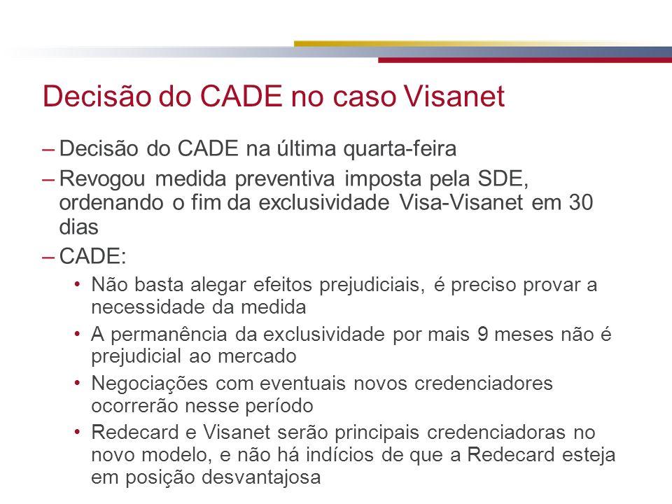 Decisão do CADE no caso Visanet –Decisão do CADE na última quarta-feira –Revogou medida preventiva imposta pela SDE, ordenando o fim da exclusividade