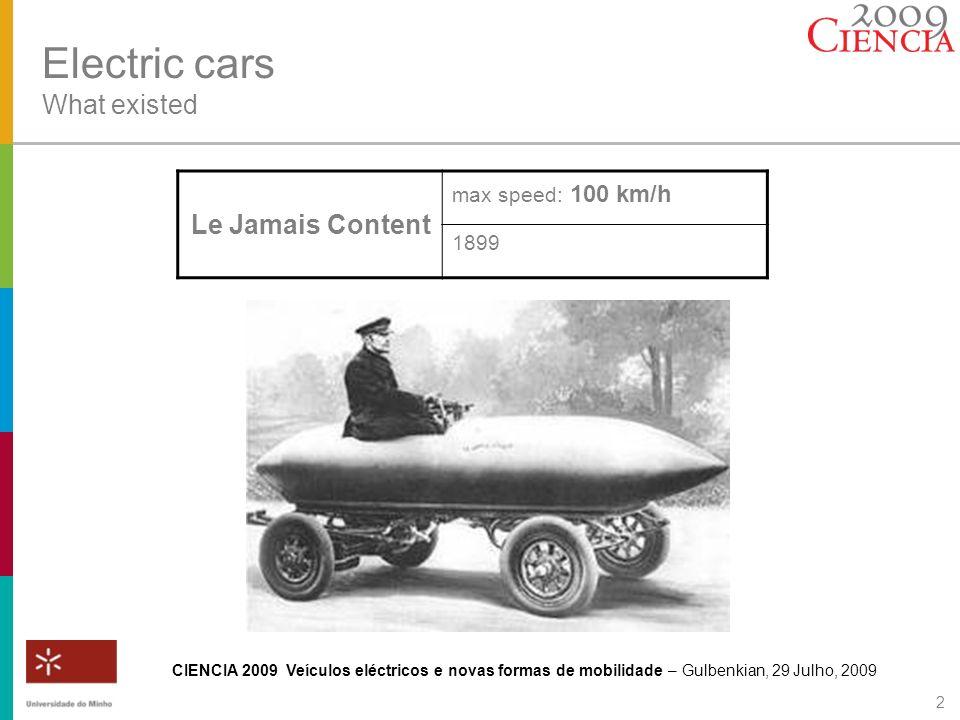 CIENCIA 2009 Veículos eléctricos e novas formas de mobilidade – Gulbenkian, 29 Julho, 2009 2 Electric cars What existed Le Jamais Content max speed: 1